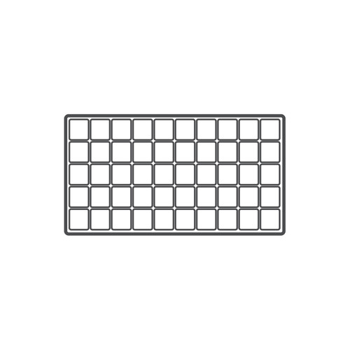 """50-compartment Durable plastic tray Insert, 14 1/8""""x 7 5/8""""x 1/2""""H,(Choose from various Color)"""