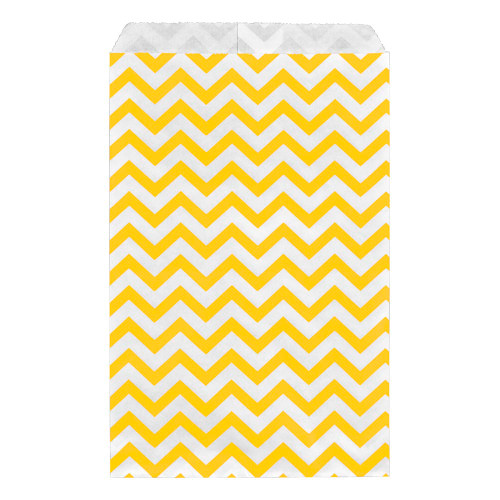 Paper gift bag , Chevron, Yellow,(Choose from various sizes),Price for 100 Pieces.