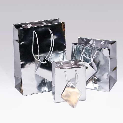 Tote Gift Bag , Metallic Silver, (Choose from various sizes),Price for 20 pieces
