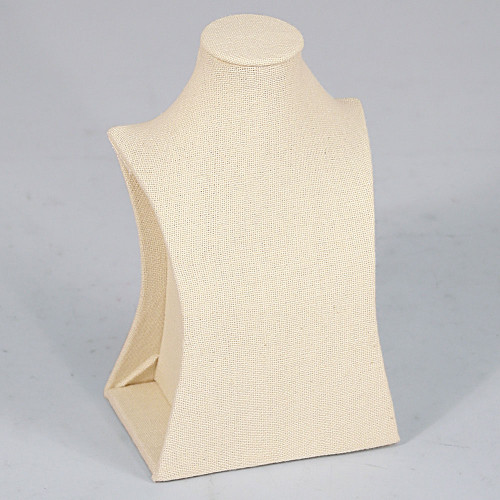 "Necklace Stand, 6"" x 4"" x 11 1/2""H, Beige Linen"