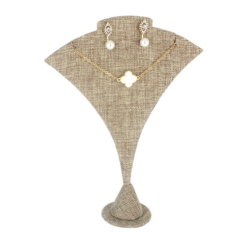 "Linen Large Curved Earring/Pendant stand, 5 1/2"" x 2"" x 7 1/4""H"