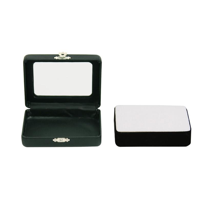 "Glass top Gem Jars Box Black Faux Leather 2 1//2/"" x 3 3//8/"" x 1/"" Gemstone Coin Big"