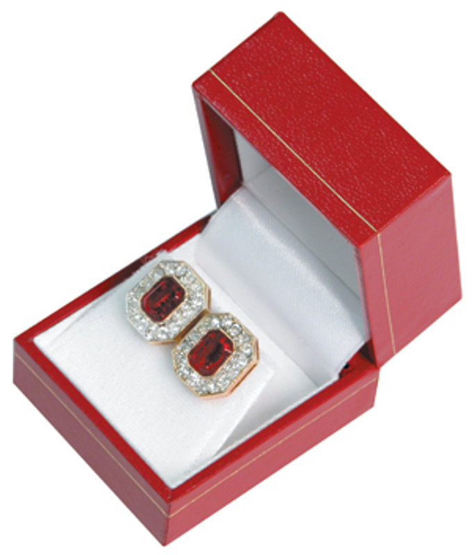 Red Faux Leather Engagement Ring Box Display Jewelry Gift Box Finger Classic