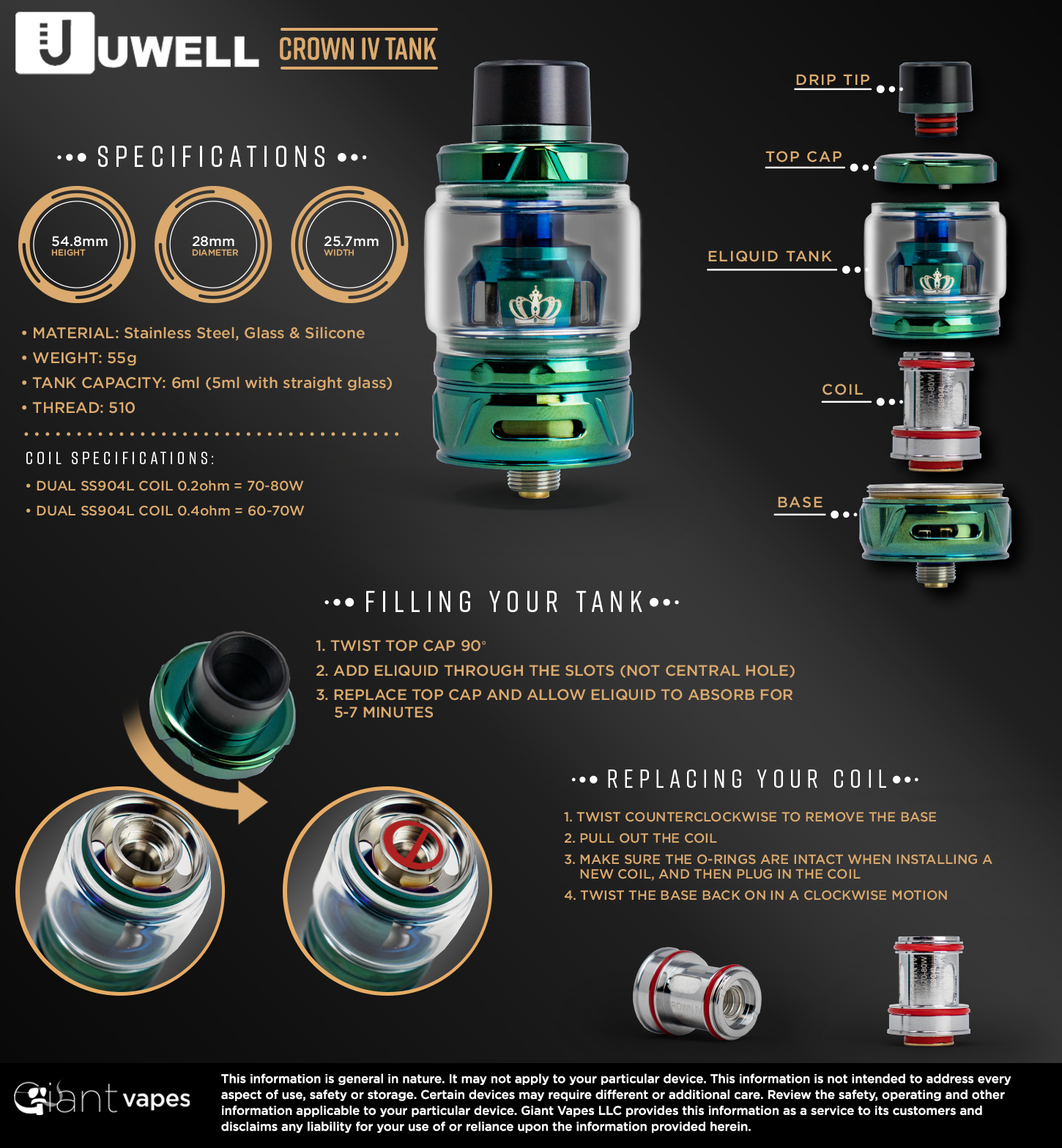 UWELL Crown 4 Sub-Ohm Tank Infographic