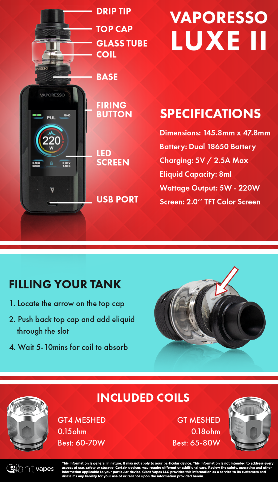 Vaporesso LUXE 2 Kit Infographic