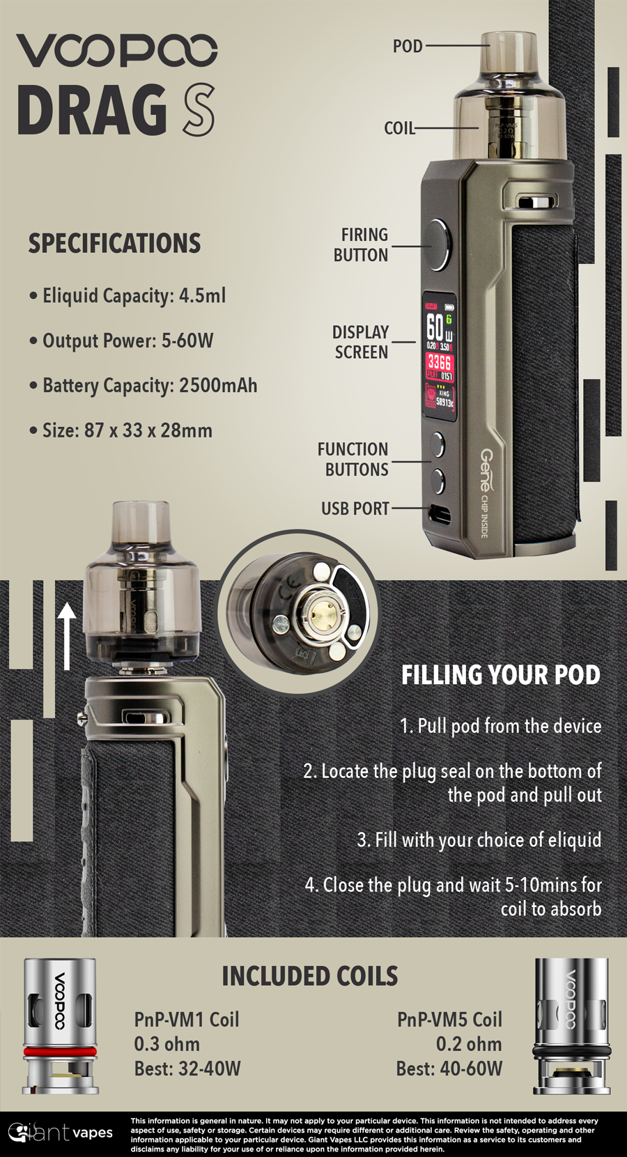VOOPOO DRAG S Infographic