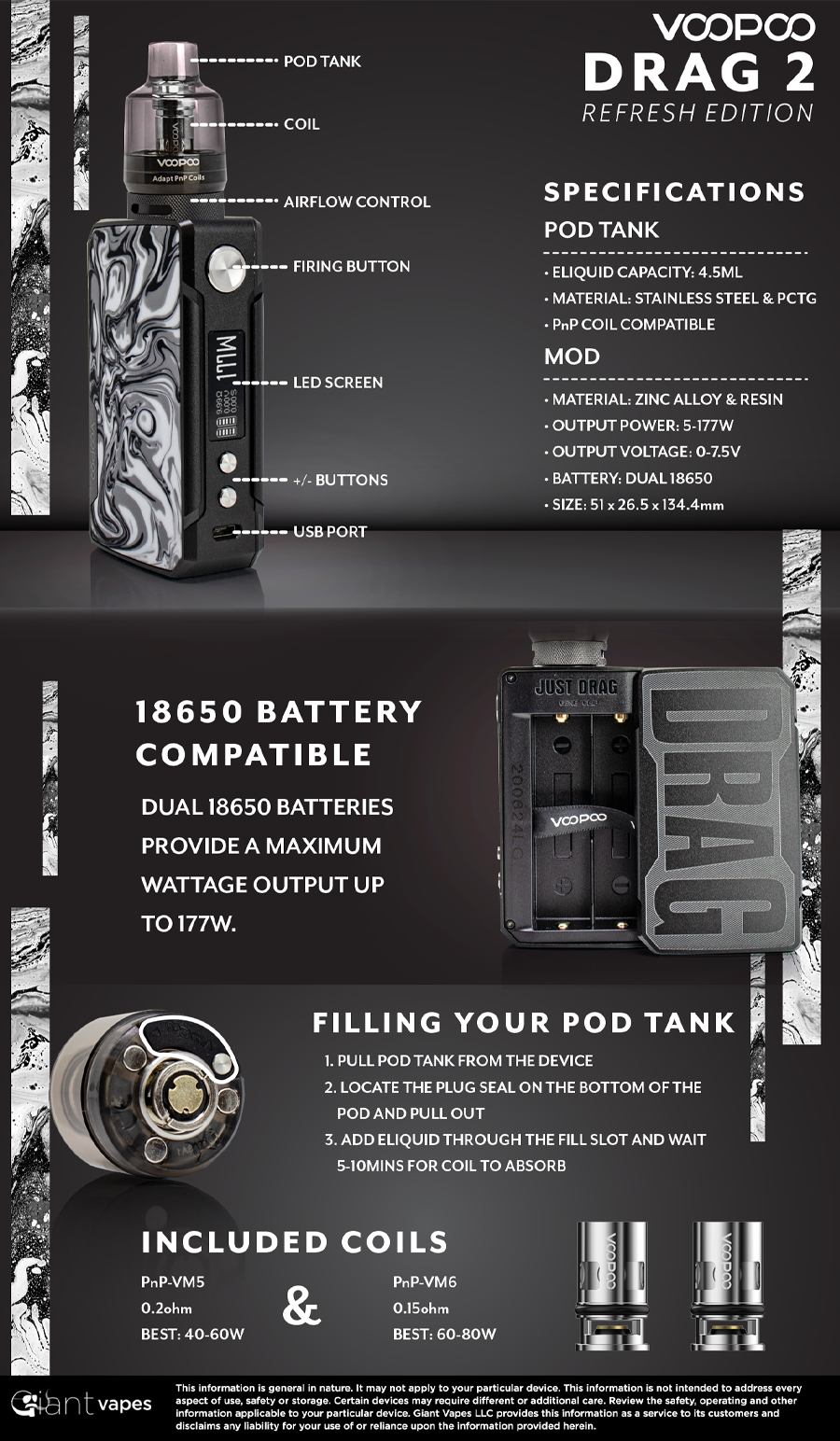 VOOPOO DRAG 2 Refresh Kit Infographic