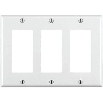 Triple Gang White Decora Wall Plate Cover
