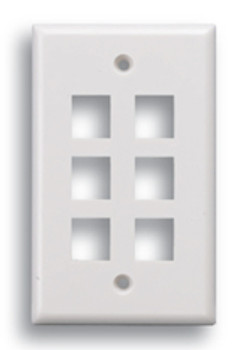 Keystone 6 Port Face Plate White