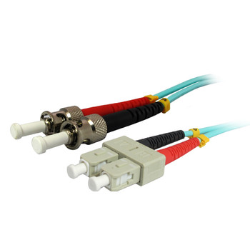 1M 10Gb SC/ST Duplex 50/125 Multimode Fiber Patch Cable - Aqua