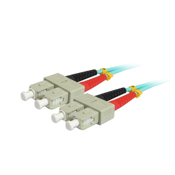 15M 10Gb SC/SC Duplex 50/125 Multimode Fiber Patch Cable - Aqua