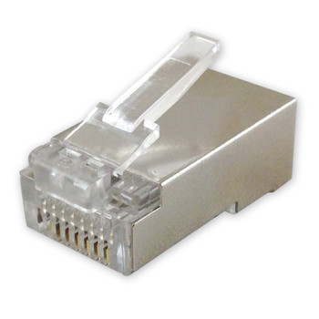 RJ-45 Shielded plug, 50u gold plated, 8 position, 8 conductor computer connector