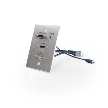 HDMI, VGA, 3.5mm Audio, USB-B to USB-A Pass Through Single Gang Wall Plate with Pigtails - Aluminum