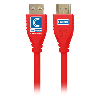 MicroFlex Pro AV/IT Certified 4K60 18G High Speed HDMI Cable with ProGrip Red 3ft