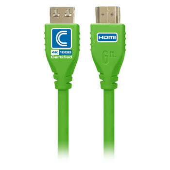 MicroFlex Pro AV/IT Certified 4K60 18G High Speed HDMI Cable with ProGrip Green 6ft