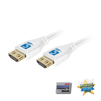 MicroFlex Pro AV/IT Series 4K60 18G High Speed Active HDMI Cable with ProGrip White 15ft