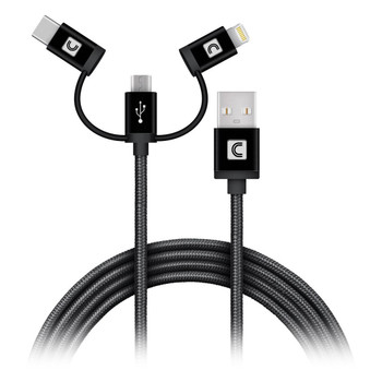 3-in-1 Mobile Charging Cable 3ft Black (USB2.0 A to Lightning, USB-C, and Micro B)