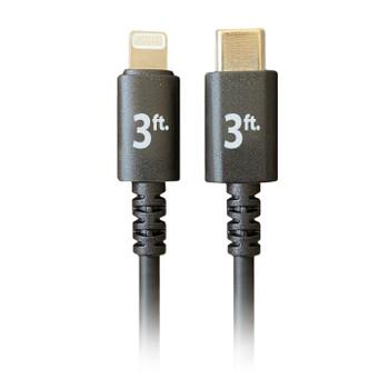 Pro AV/IT Lightning Male to USB-C Male Cable Black 3ft
