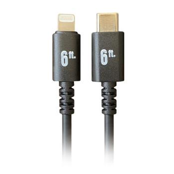 Pro AV/IT Lightning Male to USB-C Male Cable Black 6ft