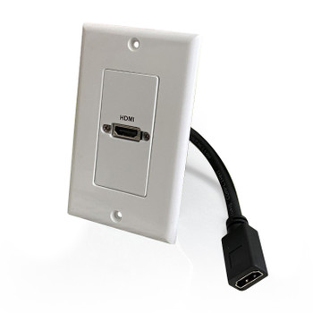 HDMI Pass-Through Single Gang Decorative Wall Plate with Pigtail - White