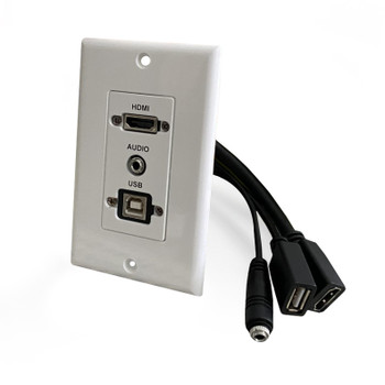 HDMI, USB-B 2.0 and 3.5mm Audio Pass-Through Single Gang Decorative Wall Plate with Pigtail - White