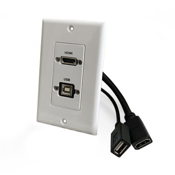 HDMI and USB-B 2.0 Pass-Through Single Gang Decorative Wall Plate with Pigtail - White