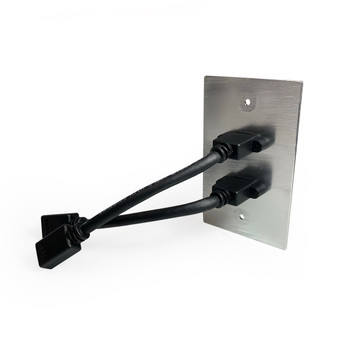 Dual HDMI Pass-Through Single Gang Aluminum Wall Plate with Pigtail