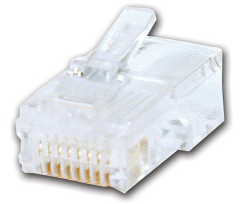 RJ-45 plug 50u gold plated, 8 position, 8 conductor computer connector