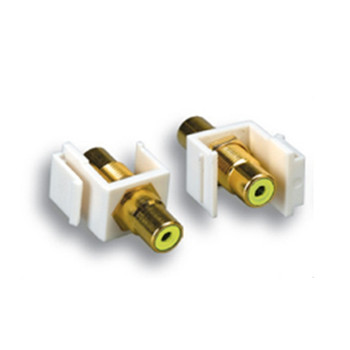 Keystone Jack Feedthrough RCA Yellow Gold Plated Connector