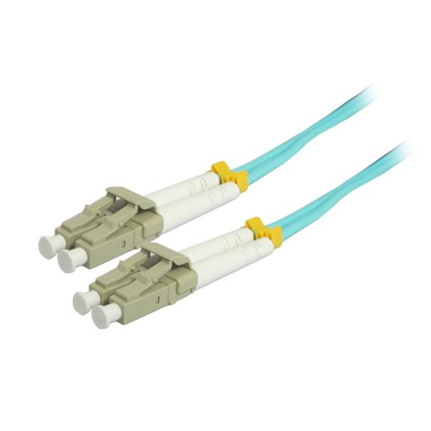 10M 10Gb LC/LC Duplex 50/125 Multimode Fiber Patch Cable - Aqua