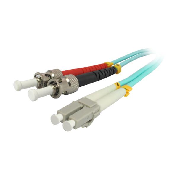 1M 10Gb LC/ST Duplex 50/125 Multimode Fiber Patch Cable - Aqua