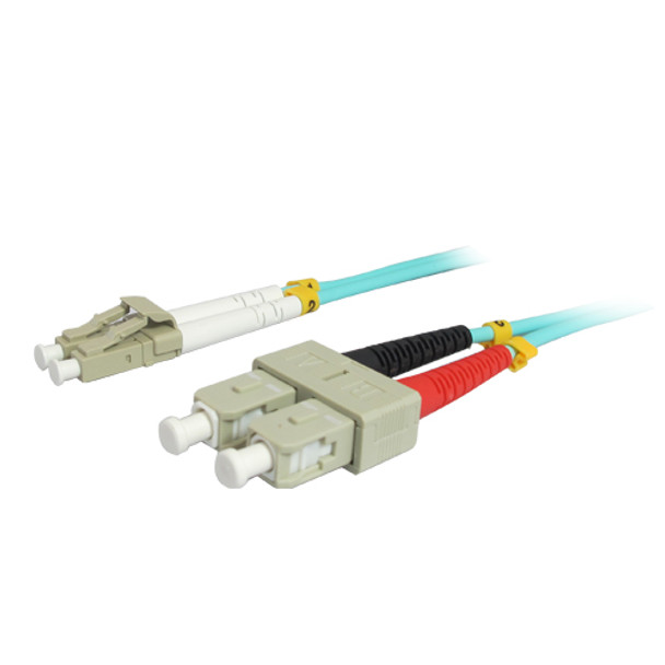20M 10Gb LC/SC Duplex 50/125 Multimode Fiber Patch Cable - Aqua
