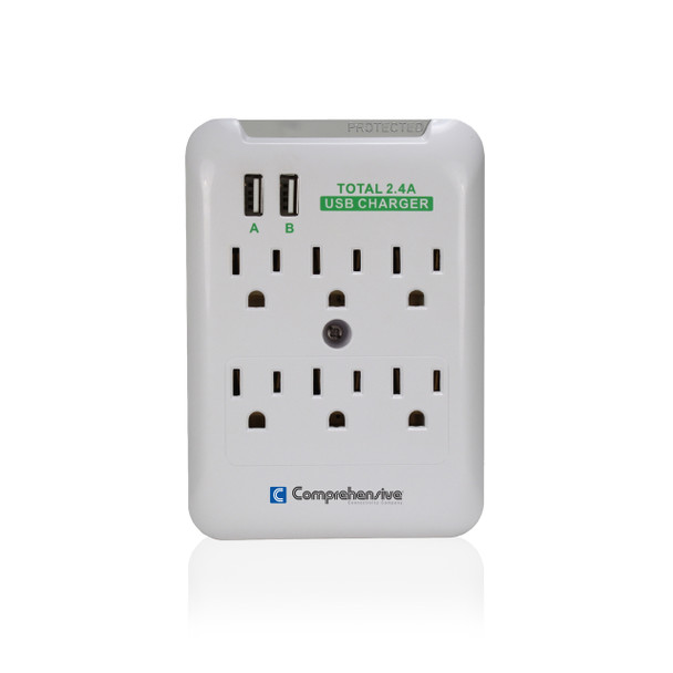 Wall Mount 6-Outlet Surge Protector With Dual-USB 2.4Amp Charging Ports