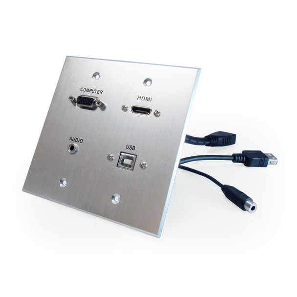 HDMI, VGA, 3.5mm Audio, USB-B to USB-A Pass Through Dual Gang Wall Plate with Pigtails - Aluminum