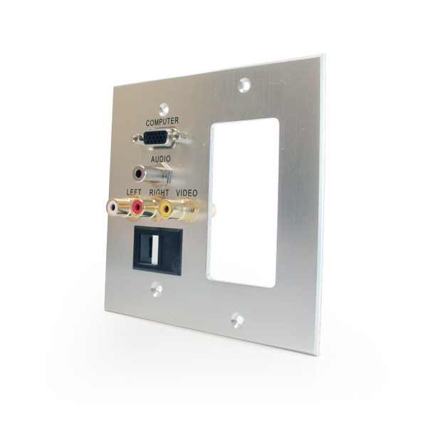 VGA, 3.5mm Audio, RCA Composite, RCA Stereo Audio Pass Through Dual Gang Wall Plate with Pigtails, Decora style cut-out, Keystone Blank - Aluminum
