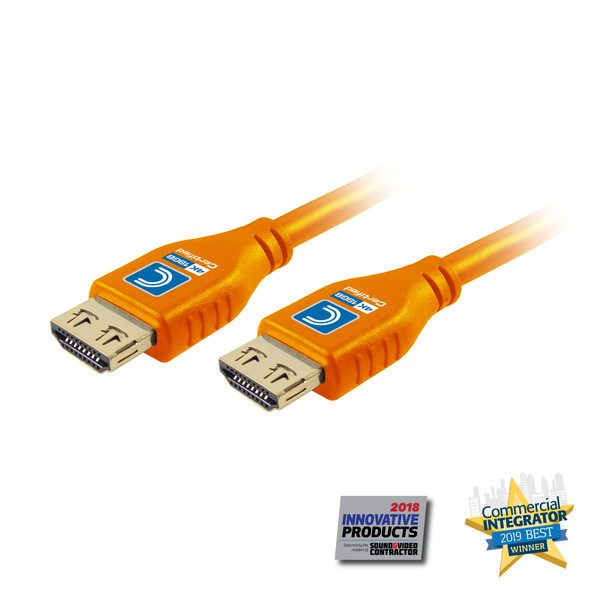 MicroFlex Pro AV/IT Certified 4K60 18G High Speed HDMI Cable with ProGrip Orange 3ft