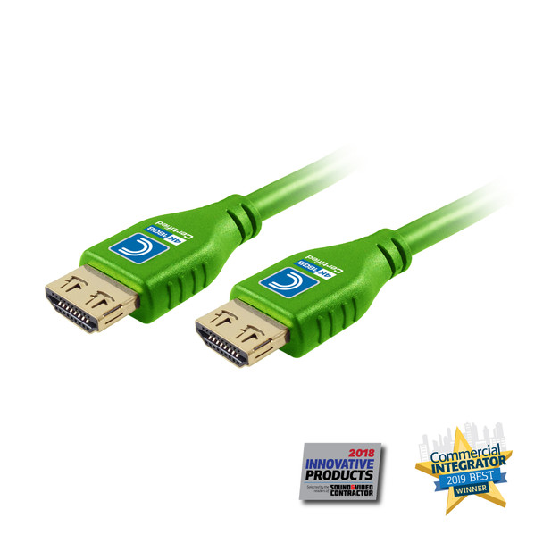 MicroFlex Pro AV/IT Series 4K60 18G High Speed Active HDMI Cable with ProGrip Green 15ft