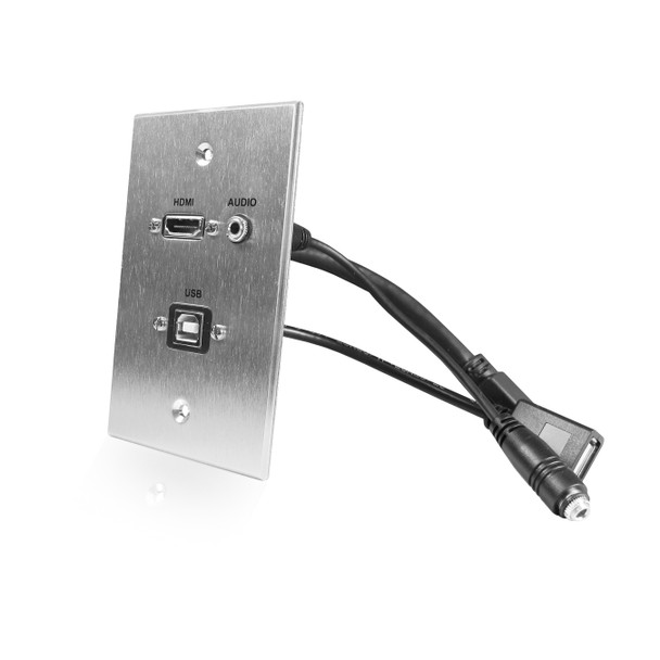 HDMI, USB, 3.5mm Audio Pass Through Single Gang Wall Plate with Pigtails - Aluminum