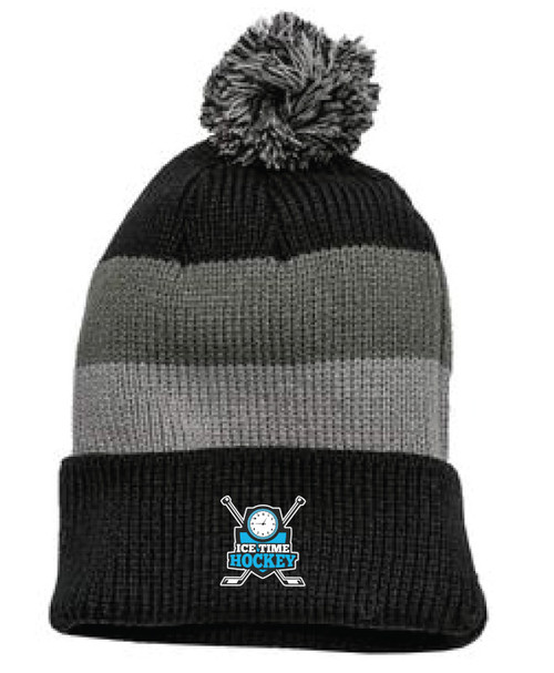 Ice Time Hockey Embroidered Beanie with Removable Pom
