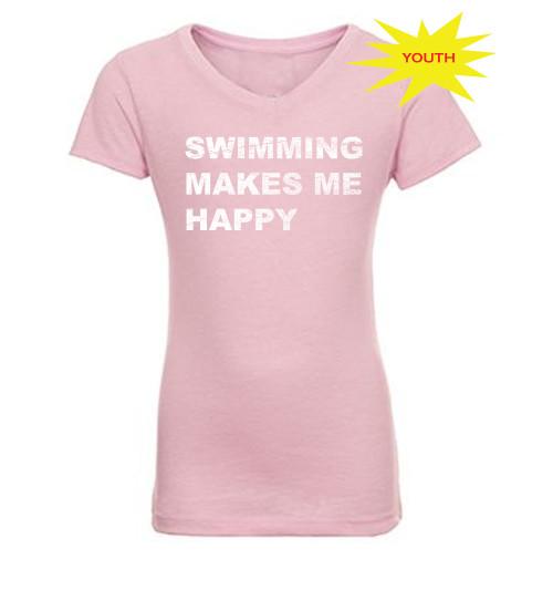 FSA Swimming Makes Me Happy Girls Blended V Neck - Lilac
