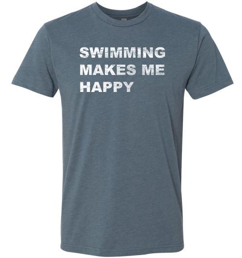 FSA Swimming Makes Me Happy Adult CVC Tee - Indigo