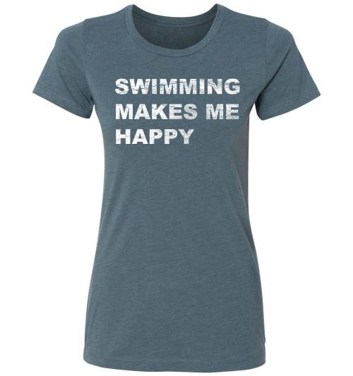 FSA Ladies Swimming Makes Me Happy CVC Crew Neck
