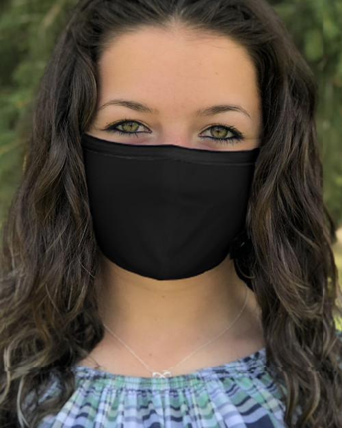 Black Polyester Facemask with Ties