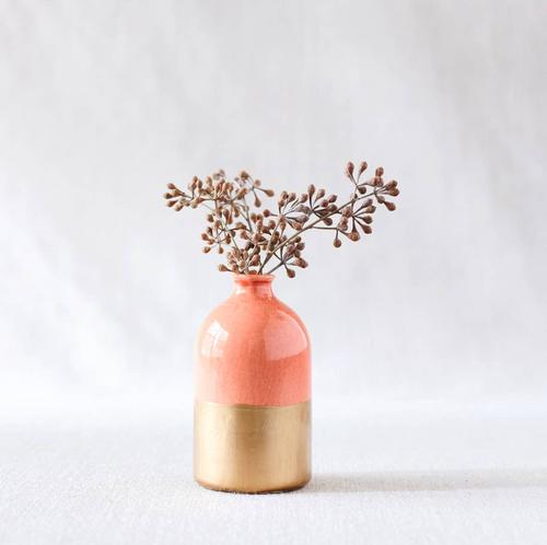 Minimalist Bud Vase Coral + Gold