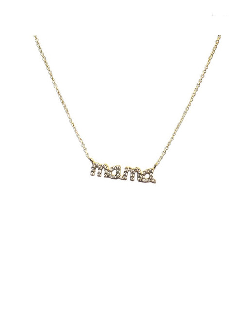 Mama Crystal Nameplate Necklace