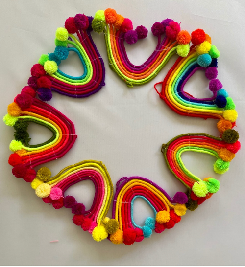 Rainbow pompom ornament