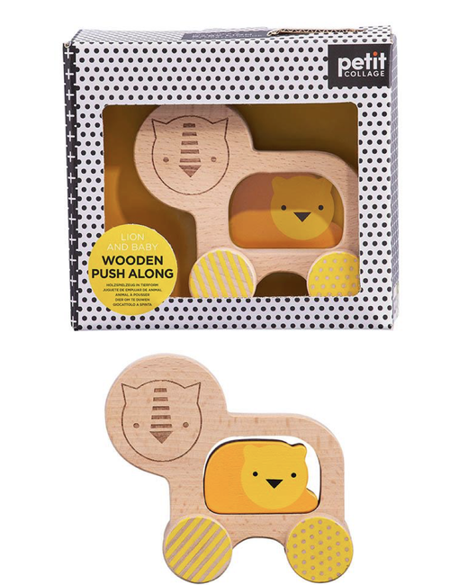 Your little one will love taking this sweet lion toy for a spin! This Lion and Baby Wooden Push Along Toy from Petit Collage has smooth wheels and simple easy to grasp shapes to encourage little ones to push this happy animal along.  Includes baby lion to nestle inside Made from FSC wood and painted with water based inks Promotes hand-eye coordination, gross motor skills, fine motor skills and body balance Recyclable packaging Perfect for ages 12 months+