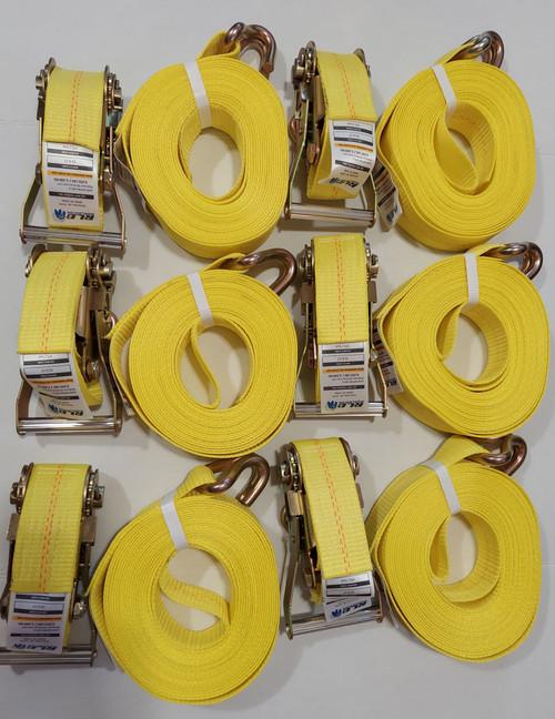 """6 piece 2"""" x 30'  Heavy Duty Ratchet Strap with """"J"""" Hook"""