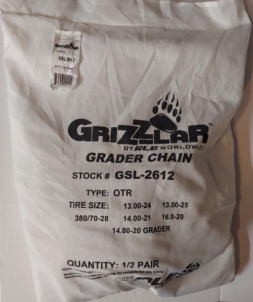 Grizzlar GSL-2612 Grader, Scraper and Heavy Equipment Type OTR Ladder Tire Chains 13.00-24 13.00-25 14.00-20 GRADER 14.00-21 15.5-25 380/70-28