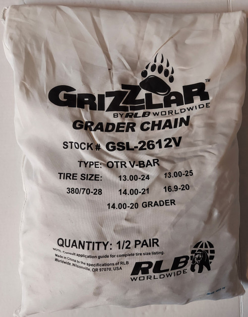 Grizzlar GSL-2612V Grader, Scraper and Heavy Equipment Type OTR Ladder V-Bar Tire Chains 13.00-24 13.00-25 14.00-20 GRADER 14.00-21 15.5-25 380/70-28